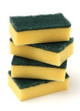 Stack of Yellow Kitchen Sponges Stock Photo