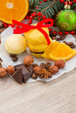 Stack of yellow macaroons for christmas Royalty Free Stock Photo