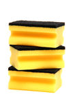 Stack of yellow sponges Royalty Free Stock Images