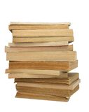 Stack of yellowed books #2. Stack of yellowed books on white background royalty free stock photos