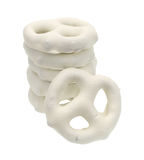 Stack of yogurt pretzels on a white background Royalty Free Stock Images