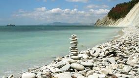 Stack of zen stones stock video