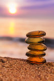 Stack of zen stones on the beach Royalty Free Stock Images
