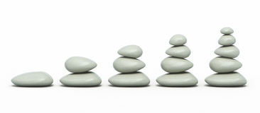 Stack zen stones. 3d render Stack zen stones ( on white and clipping path Stock Photos