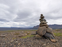Stack of zen stones in Iceland Royalty Free Stock Image