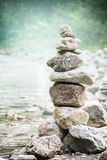 Stack of zen stones on nature background, concept of balance and harmony Royalty Free Stock Images