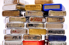 Stack of zippo lighters Royalty Free Stock Photos