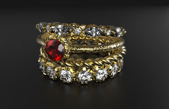 Stackable Ring Mixes Gemstone. On black surface Royalty Free Stock Photo