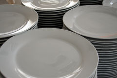 Stacked. Plates in a restaurant Royalty Free Stock Photos