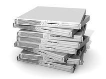 Stacked 19inch Servers. 3D rendered Illustration. 19inch Pizzabox (web)Server. Isolated on white Stock Illustration