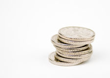 Stacked 5 pence coins. Stacked 5 pence british coins Royalty Free Stock Photo