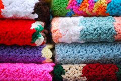 Stacked Afghans. Stacks of colorful afghans ready for winter Royalty Free Stock Photography
