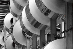 Stacked aluminum coils Royalty Free Stock Image
