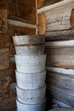 Stacked Antique Wooden Pails or Buckets Stock Images