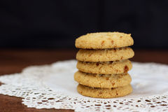 Stacked apple chip cookies on white rustic napkin - 1 Stock Images