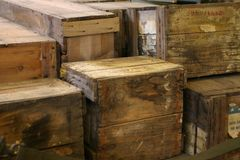 Stacked army boxes 6. Stacked army boxes ready for transportation Royalty Free Stock Photos