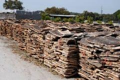 Stacked bark of  cork oak Royalty Free Stock Photography