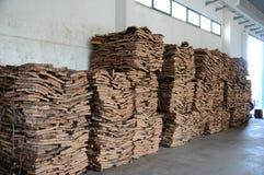 Stacked bark of cork oak Stock Image
