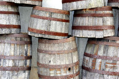 Stacked Barrels. Stacked wooden barrels Stock Photo