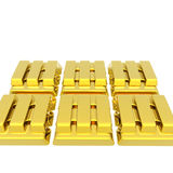 Stacked bars of gold bullion on a white Stock Images