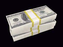 Stacked bills on black background Stock Photo