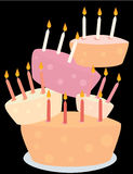 Stacked birthday cakes. Five birthday cakes with candles stacked on a black background vector illustration