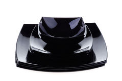Stacked black dishes Stock Photography