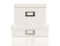 Stacked Blank White File Boxes with Lids on White Stock Photo