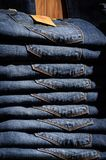 Stacked Blue Jeans Stock Photography