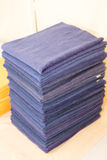Stacked blue towels Stock Photography