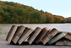 Stacked Boats in Autumn Stock Photo