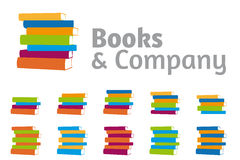 Stacked Books Company Logo Set Royalty Free Stock Image