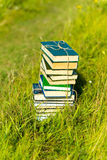 Stacked books in grass, outside. Summer day Royalty Free Stock Photos