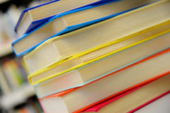 Stacked books. Stack of books. Close up of books in library. Royalty Free Stock Image