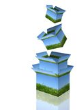 Stacked Boxes. A stack of open boxes Royalty Free Stock Photos