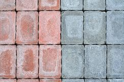 Stacked Bricks. Colored weathered bricks that may be suitable as texture or background Stock Photo