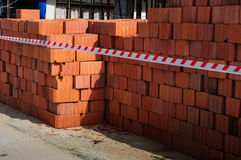 Stacked Bricks On A Construction Area Stock Photo