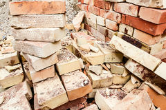 Stacked bricks on wooden shipping pallet Stock Photos