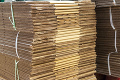 Stacked brown corrugated cardboard boxes Stock Photography