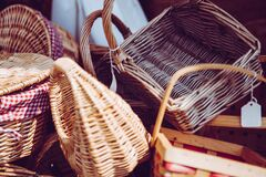 Stacked Brown Wicker Baskets Royalty Free Stock Images
