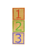 Stacked brown wooden cubes with numbers one, two and three Royalty Free Stock Image