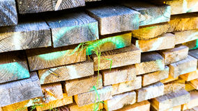 Stacked building timber. For housebuilding Royalty Free Stock Images