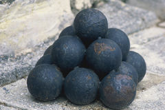 Stacked Cannon Balls stock image