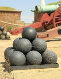 Stacked cannonballs Royalty Free Stock Photo