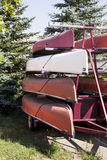 Stacked Canoes royalty free stock images