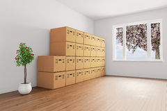 Stacked cardboard boxes with plants Stock Photography