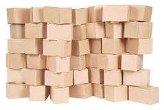 Stacked cardboard boxes. On white background Stock Images