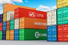 Stacked cargo containers in freight sea port terminal Royalty Free Stock Images