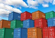 Stacked cargo containers in port. Stacked cargo containers in storage area of freight sea port terminal Stock Images