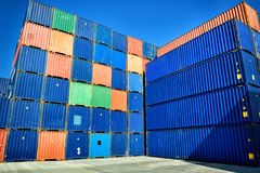 Stacked cargo containers Royalty Free Stock Photo